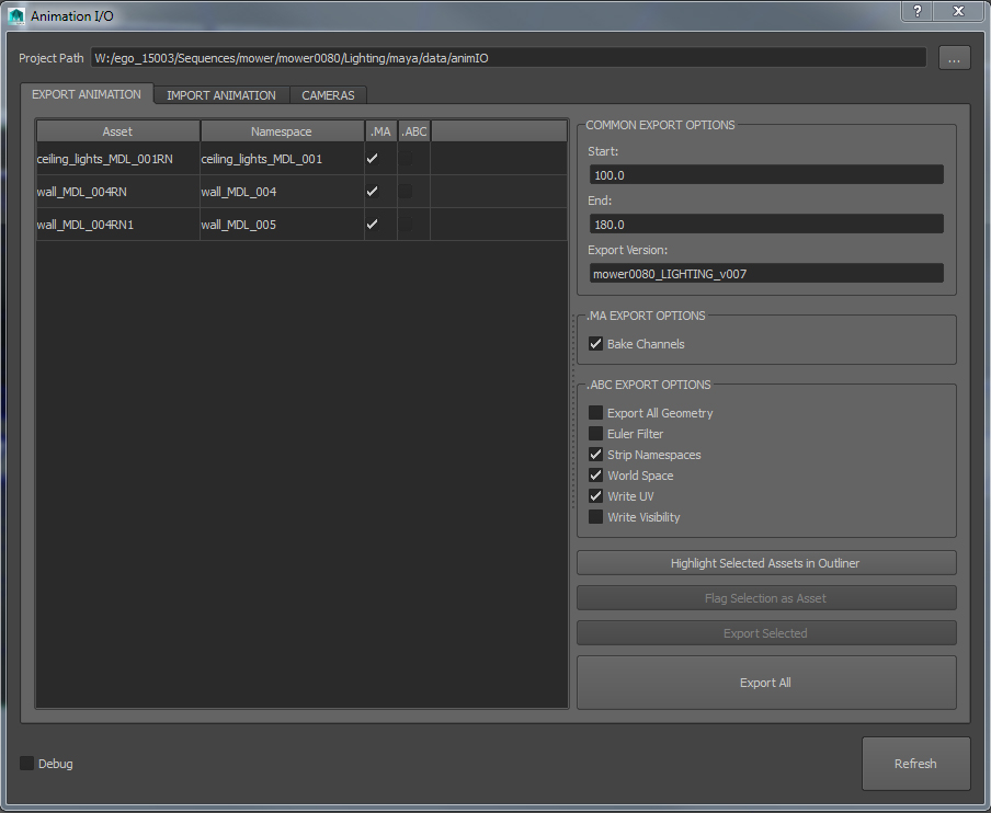 Animation export tools. Any referenced asset can export baked curves, Alembic data, or both.